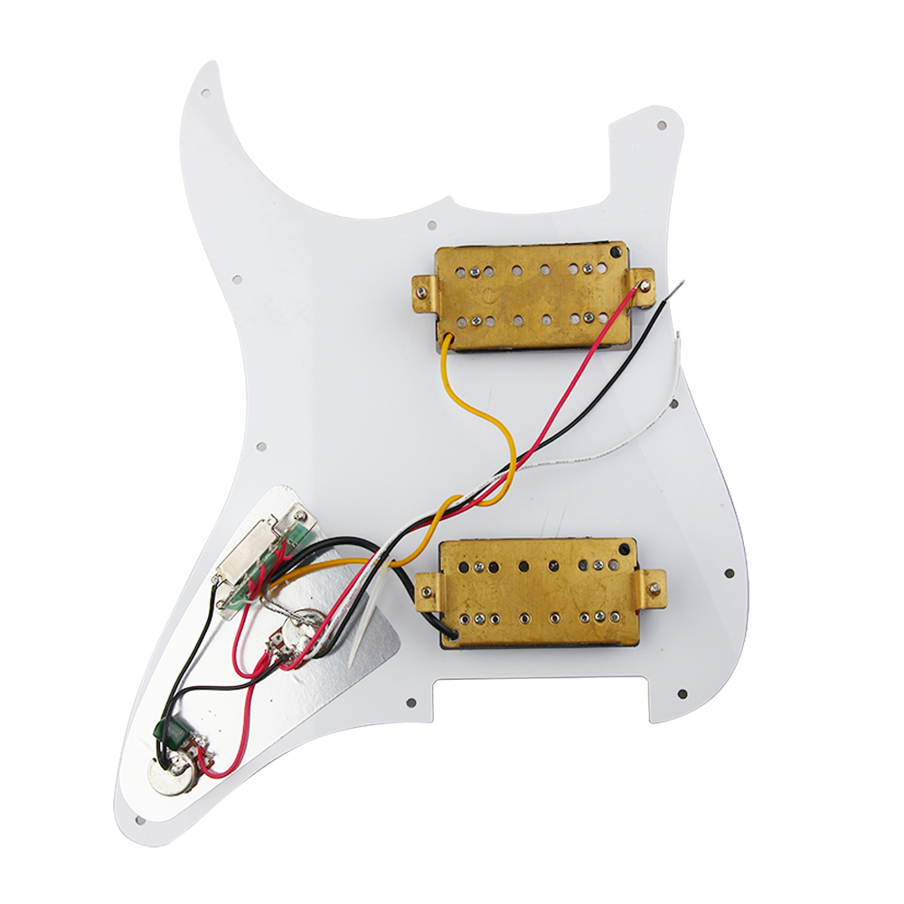 1set Loaded Strat Pickguard Scratchplate White W 2 Humbucker Bass Wiring Diagram 1 Volume Tone Pickups 3 Way Toggle Picture