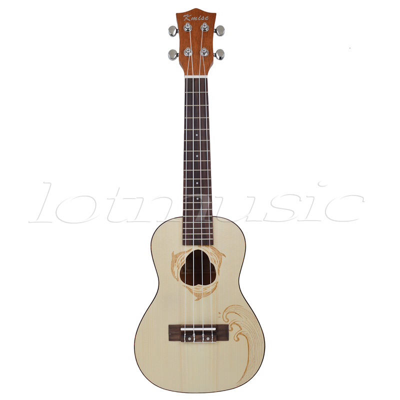 Kmise Spruce Concert Ukulele 23 inch Hawaii Guitar Mahogany Rosewood Carved Dolphin
