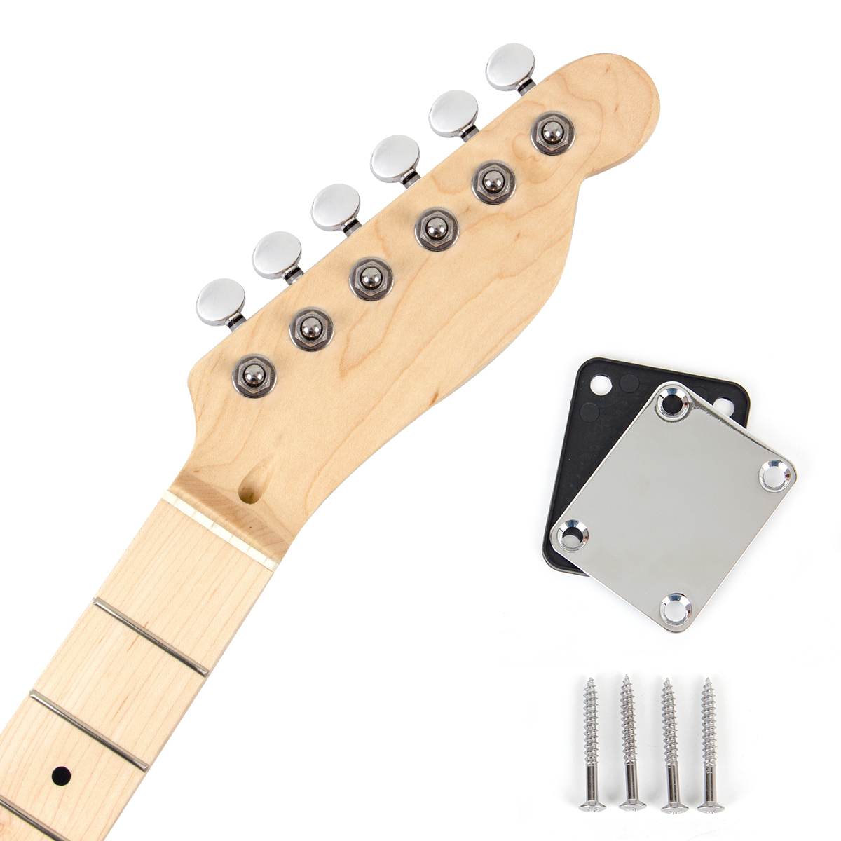 Kmsie Electric Guitar Neck with Tuner Neck Plate...