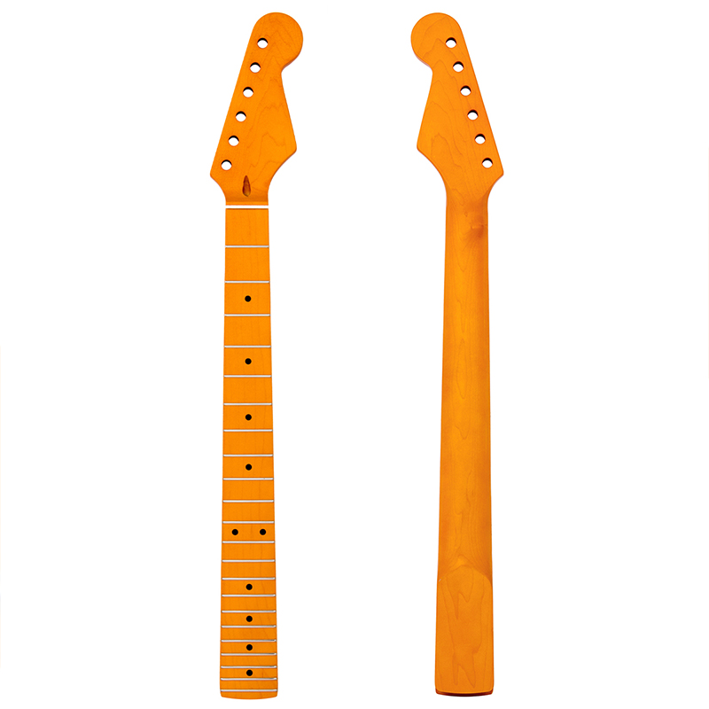 Kmise Electric Guitar Neck for Fender Start Yellow Satin Canada Maple 22 Frets Dual Truss Rod Bolt On 10mm Tuner Hole