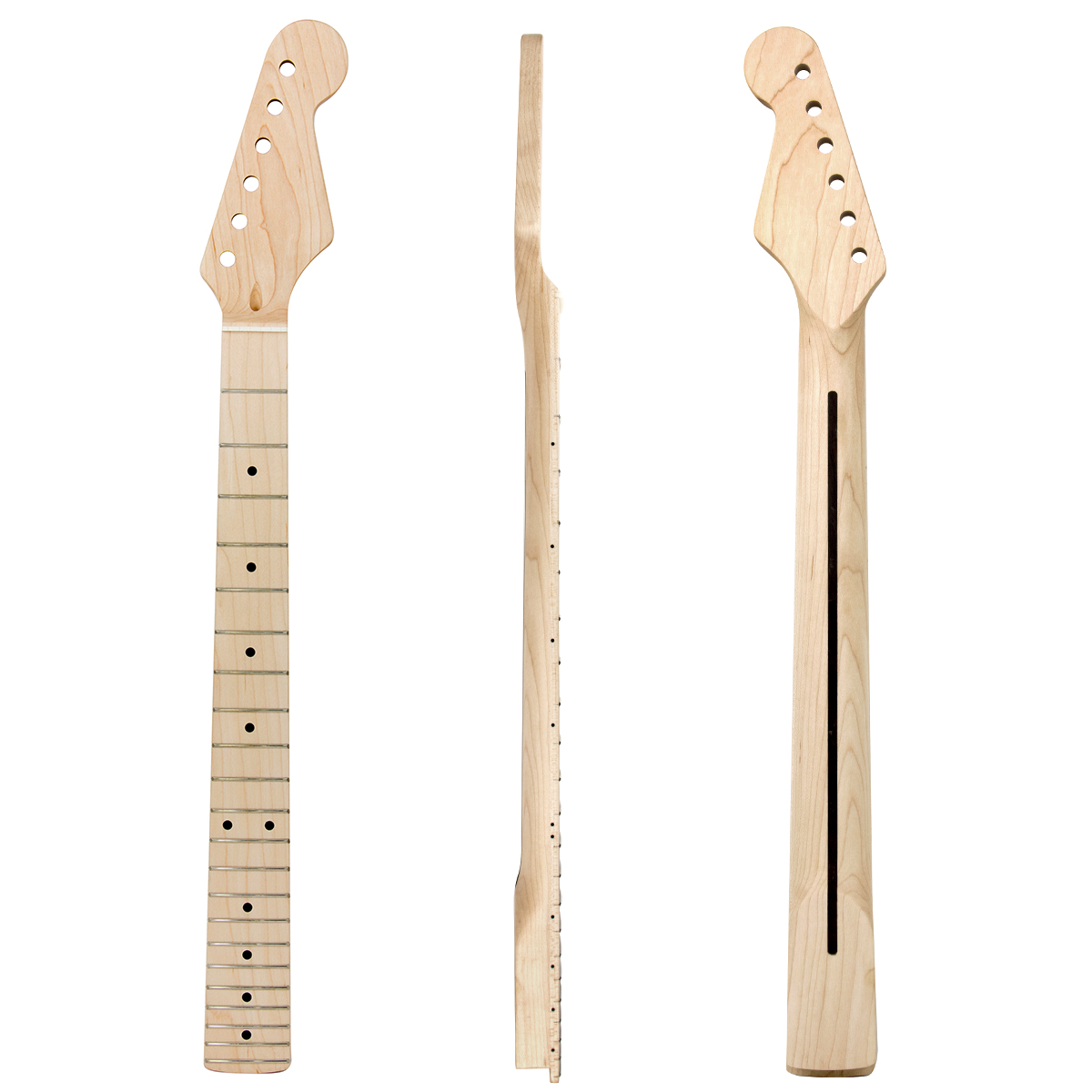 Kmise Electric Guitar Neck for Fender Start Clear Satin Canada Maple 22 Frets Dual Truss Rod Bolt On 10mm Tuner Hole