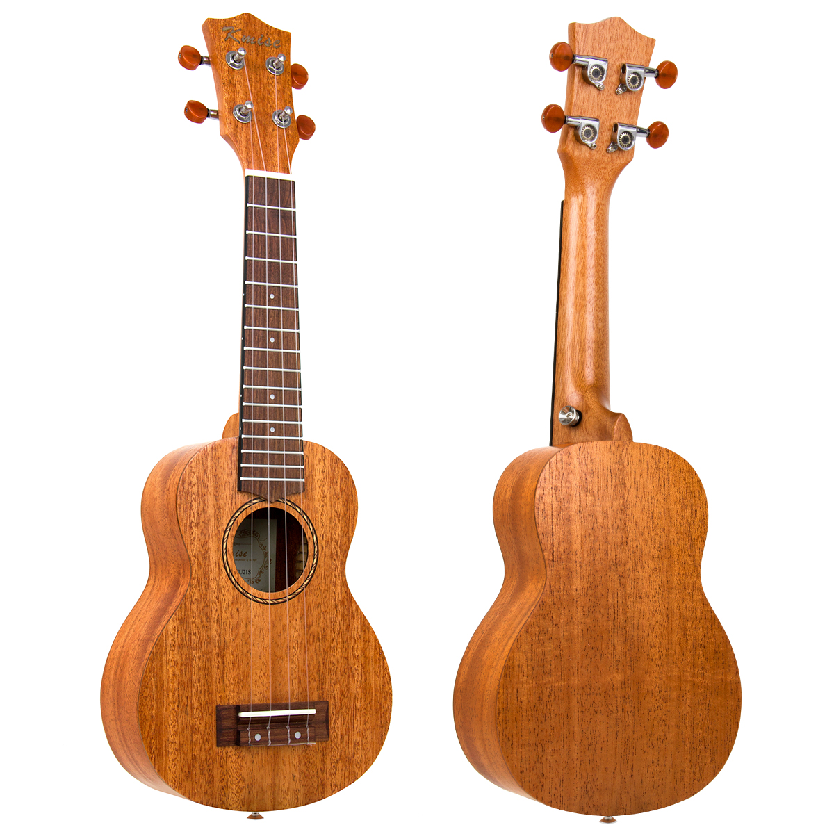 Kmsie Concert Ukulele Mahogany 23 inch 18:1 Advanced Tuner Carbon String G-C-E-A Bone Nut & Saddle 18 Frets with Strap Lock