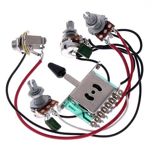 wiring harness prewired /5-way switch/jack 500k pots/for fender strat  replace