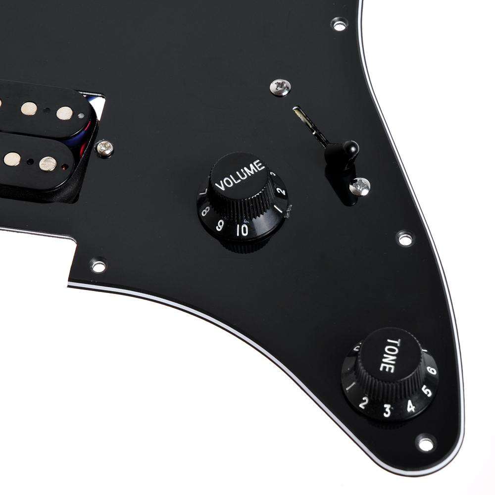 1set Loaded Strat Pickguard Scratchplate Black W 2 Humbucker 3 Way Switch Picture