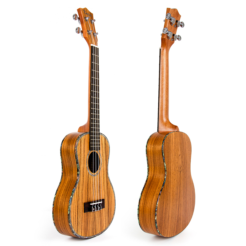 Kmise Tenor Travel Ukulele 26 inch 18 Frets Thin BoayZebrawood Closed Tuner Machine Aquila String GCEA